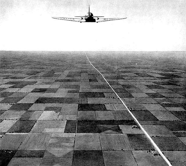 a Robert Riggs illustration, airplane high over road