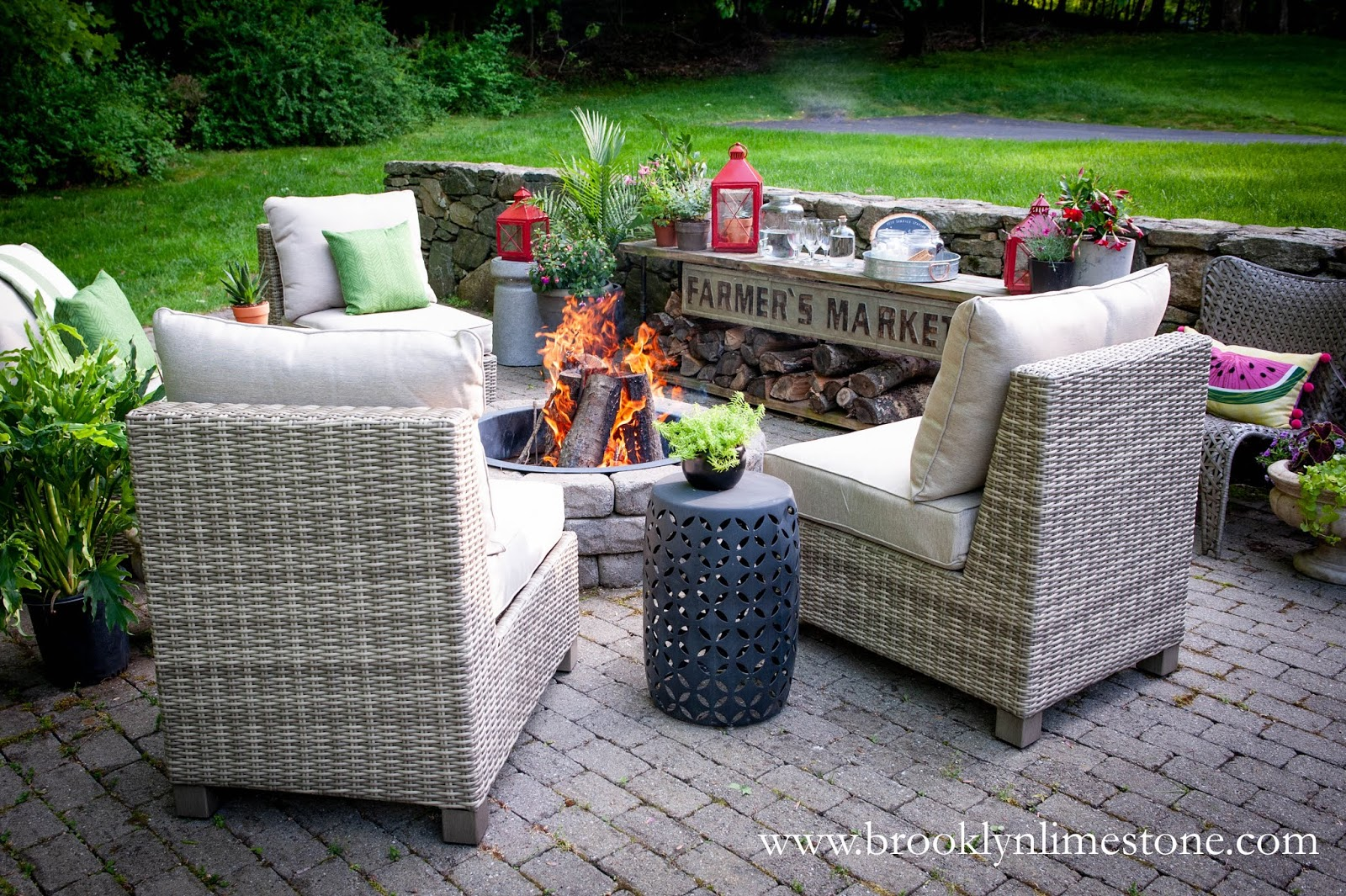 firepit chairs plants