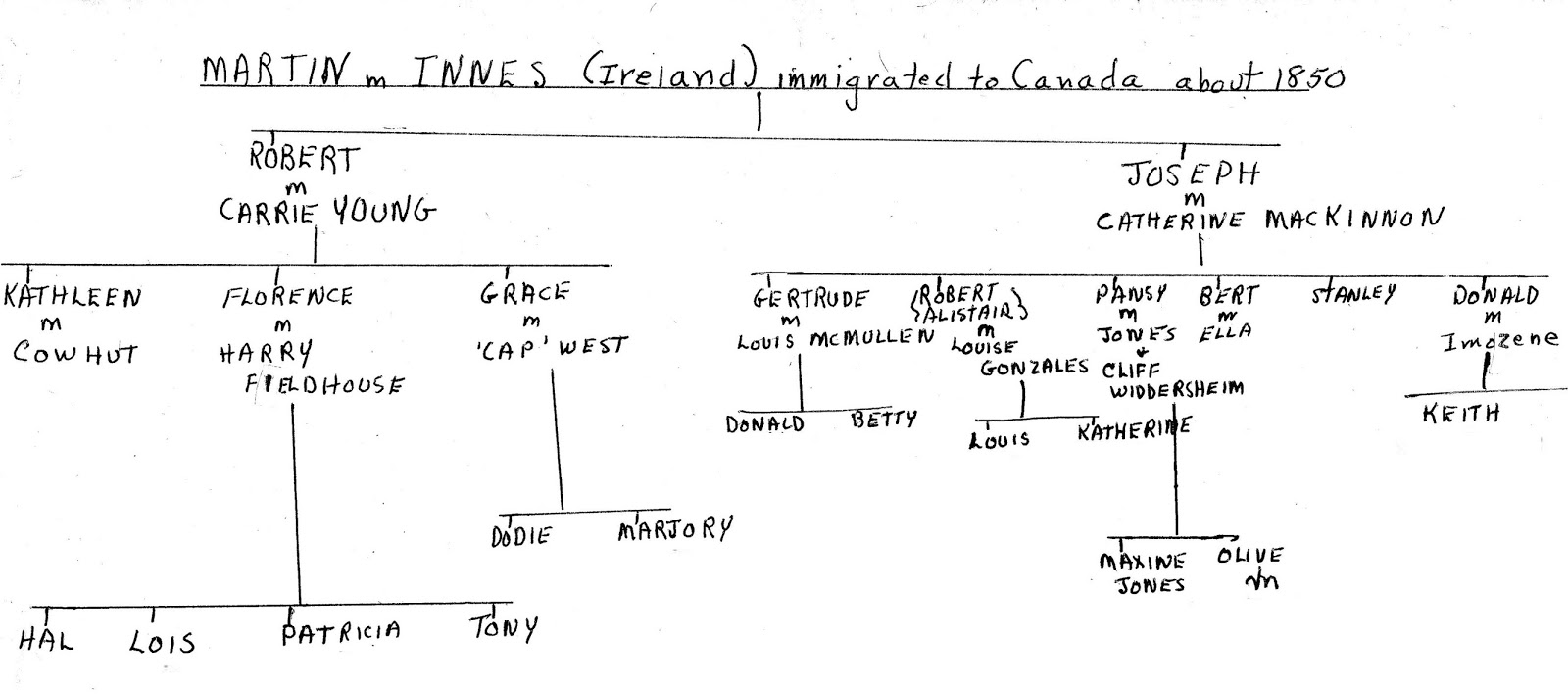 Hand-drawn Family Tree for Martin m. Innes (created Jan 1990)