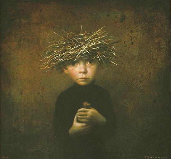 """arte contemporáneo, pinturas, """"Lost Nestling"""" by Igor Melnikov, 2016."""