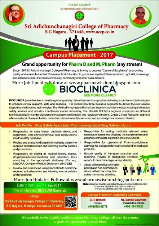 BIOCLINICA - Campus Placement for Pharm.D & M.Pharm (any stream) on 12th Jan 2017 @ Sri Adichunchanagiri College of Pharmacy