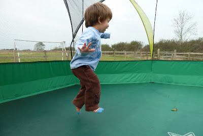 on the trampoline at Croft Farm Cottages