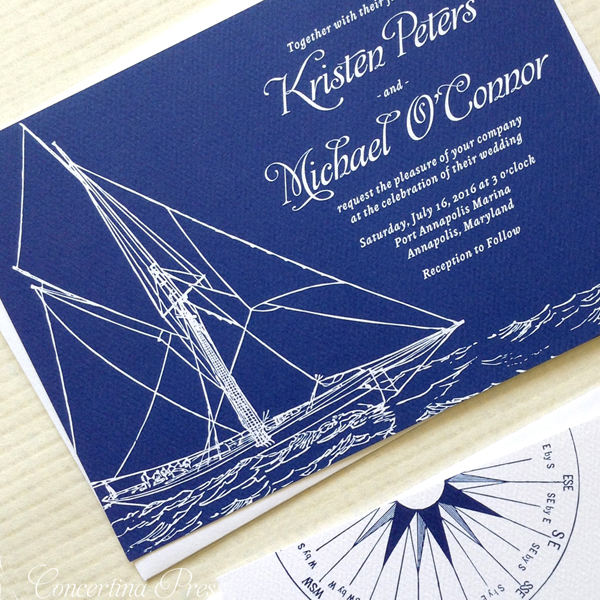 Nautical Wedding Invitation with a sailboat for sailors by Concertina Press