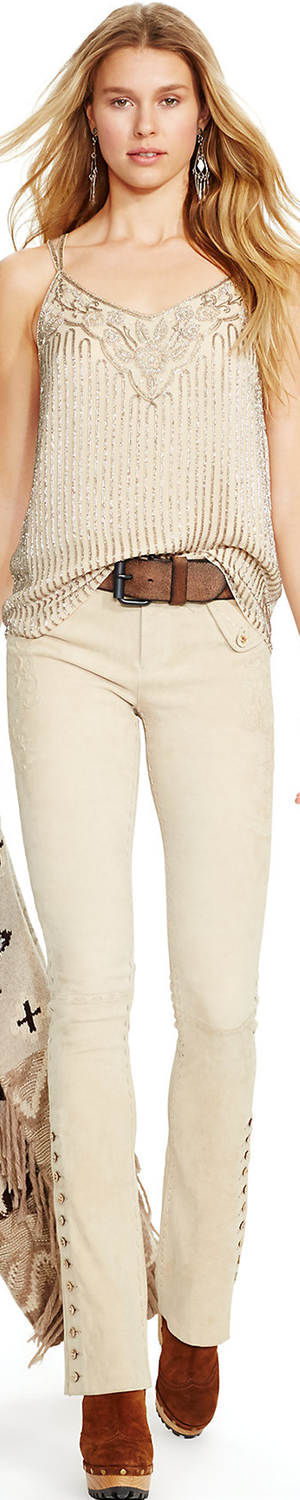 Ralph Lauren Scroll-Pattern Suede Pant