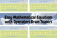 Easy Mathematical Equations with Operators Brain Teasers