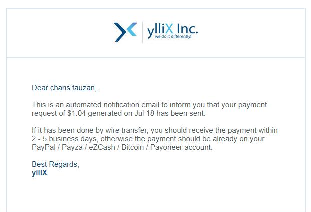Yllix, Alternatif Adsense Favorit, Minimum Payout Hanya 1$