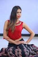 Telugu Actress Nishi Ganda Stills in Red Blouse and Black Skirt at Tik Tak Telugu Movie Audio Launch .COM 0133.JPG