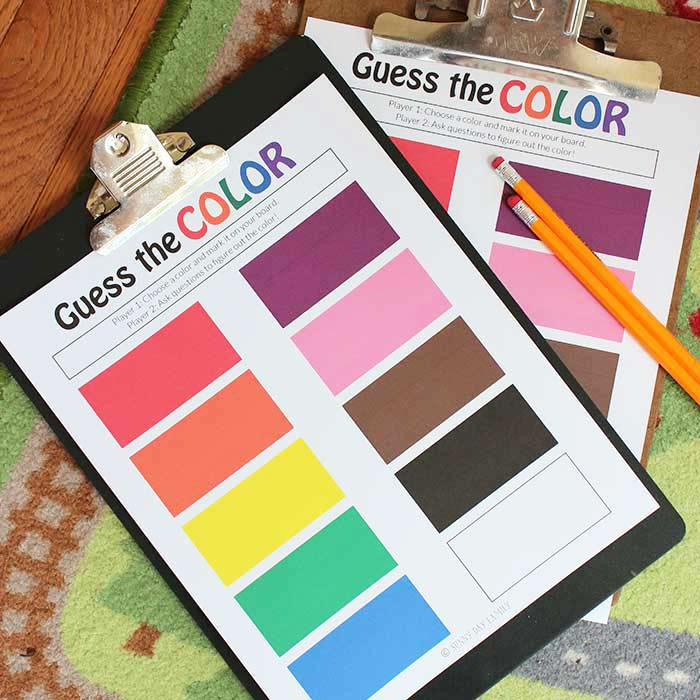 Guess the Color Game for Kids | Free Printable | Sunny Day Family