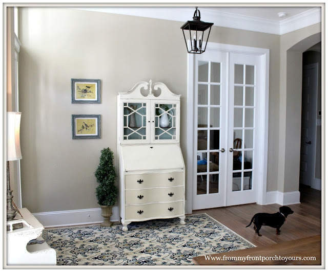 French Country Farmhouse Foyer-makeover-Before-Vintage Secretary-From My Front Porch To Yours