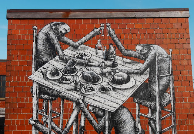 New Street Art Mural By Phlegm which was painted on the wall of an old Bourbon distillery in Lexington Kentucky. 4