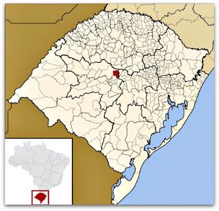 Cidade de Pinhal Grande, no mapa do Rio Grande do Sul