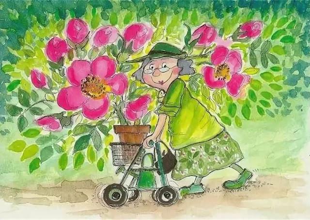 Dibujo encantadora anciana anda con un andador entre flores