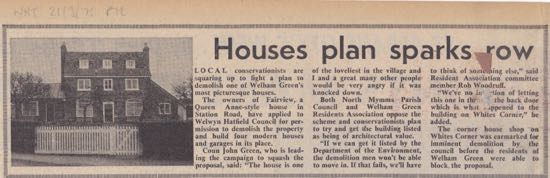 Cutting from the Welwyn Times and Hatfield Advertiser, March 21, 1975 Image of cutting from the Peter Miller Collection