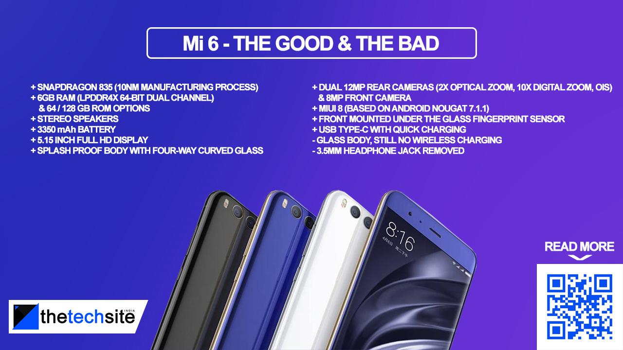Xiaomi Mi 6 India Specs Price Pros & Cons