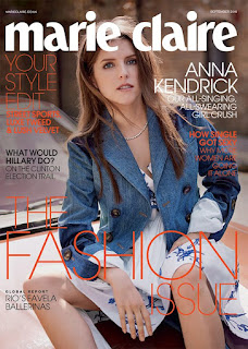 Anna Kendrick covers Marie Claire The Fashion issue September 2016 issue. See photo spread at JasonSantoro.com