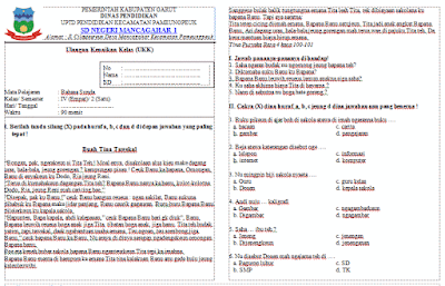 Soal UKK/UAS Bahasa Sunda Kelas 4 Semester 2