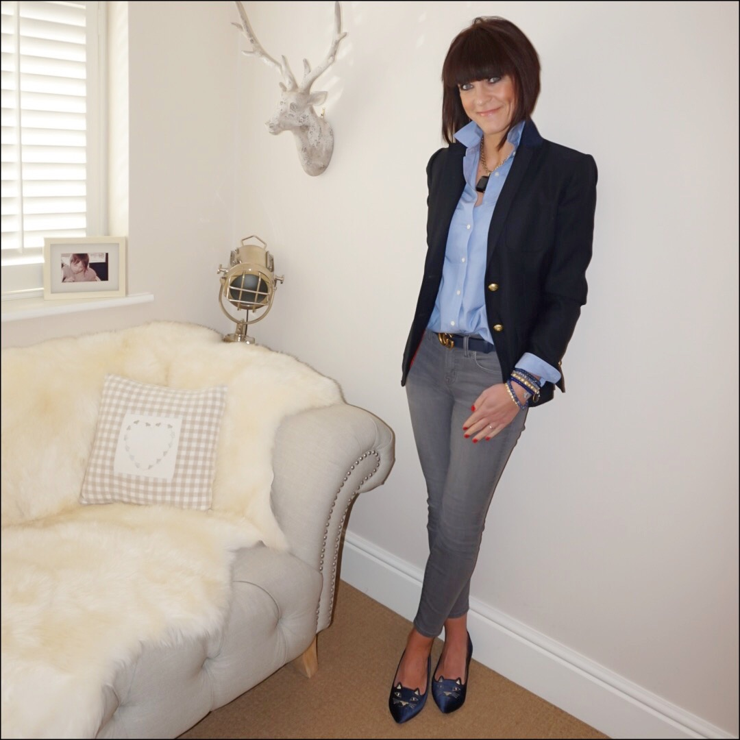"my midlife fashion, j crew rhodes blazer, j crew perfect poplin chambray shirt, j crew 8"" toothpick skinny jeans, charlotte olympia kitty slippers, gucci 2cm double GG leather logo belt"