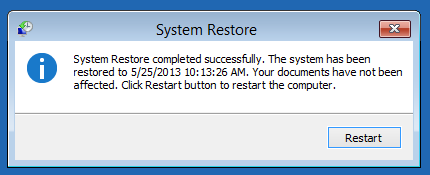 system restore succed