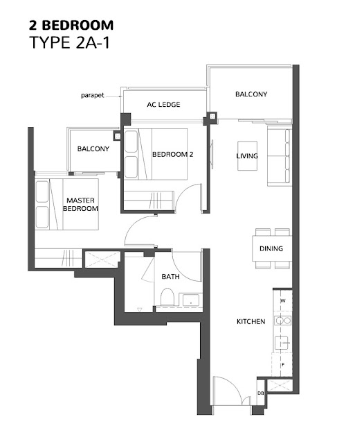 The Wisteria @ Yishun Floor Plan 2 Bedroom