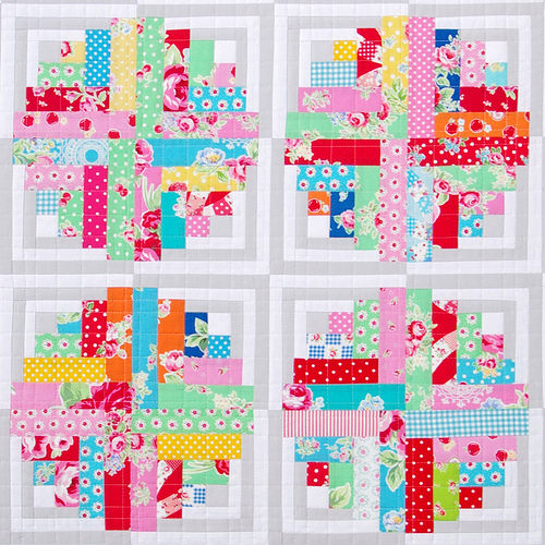 Curvy Log Cabin Quilt - Flower Sugar | Red Pepper Quilts