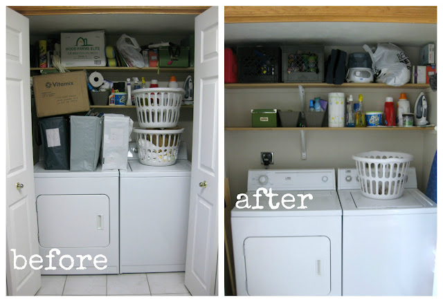 before and after cleaning up laundry area