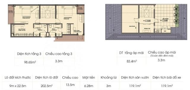 Mẫu biệt thự 2 (tầng 3 + áp mái)