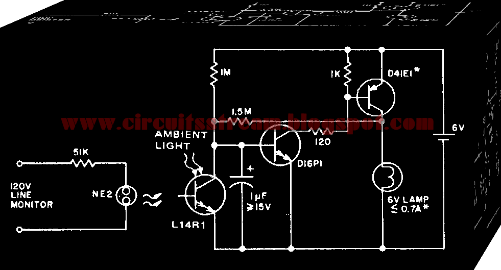 Line Operated Power outage Light Circuit Diagram