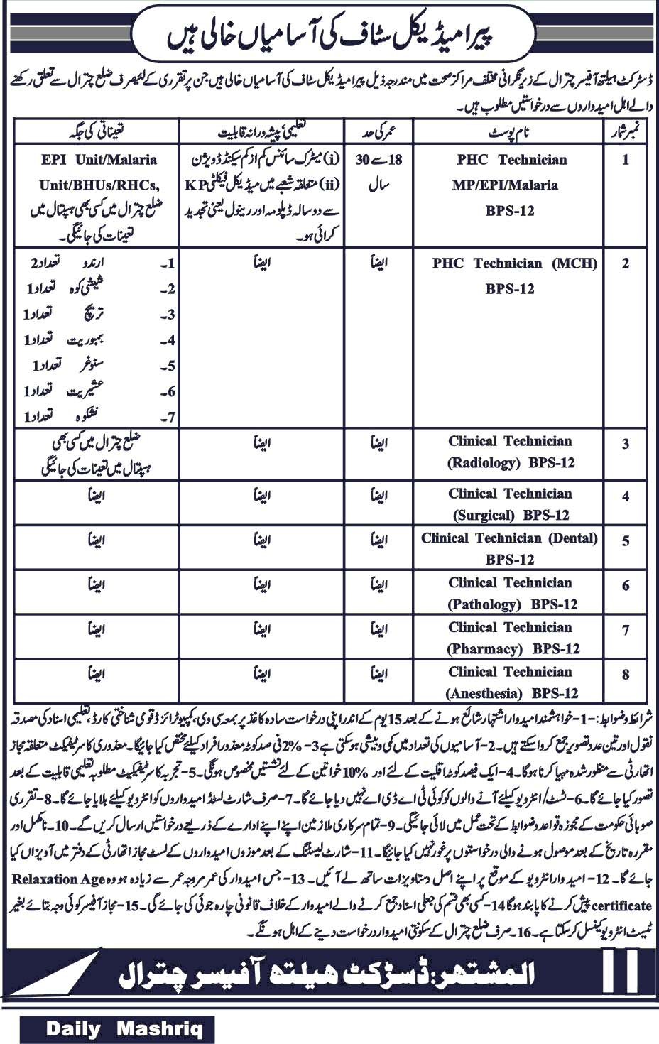 Pera Medical Staff Jobs in District Health Officer Chitral 2019