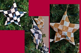 checked star Christmas ornaments