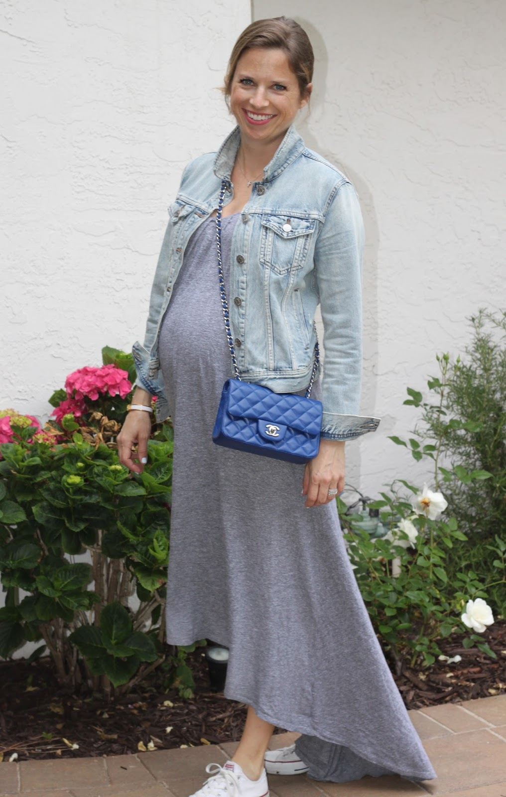 blue chanel cross body and jean jacket