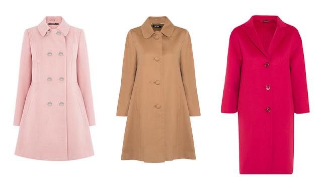 Розовое приталенное пальто, пальто трапеция и розовое пальто-кокон