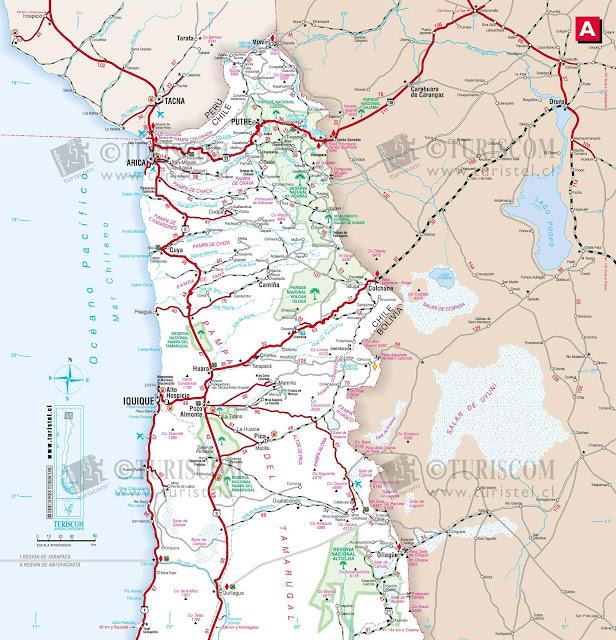 Mapa do Norte do Chile – Região de Tarapacá