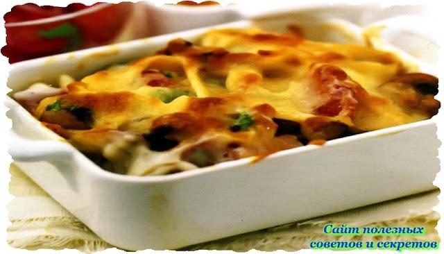 Рецепт запеканки с ветчиной и грибами в духовке