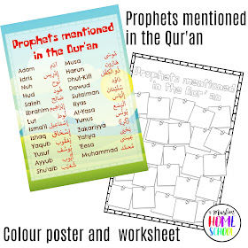 Prophets mentioned in the Qur'an colour poster