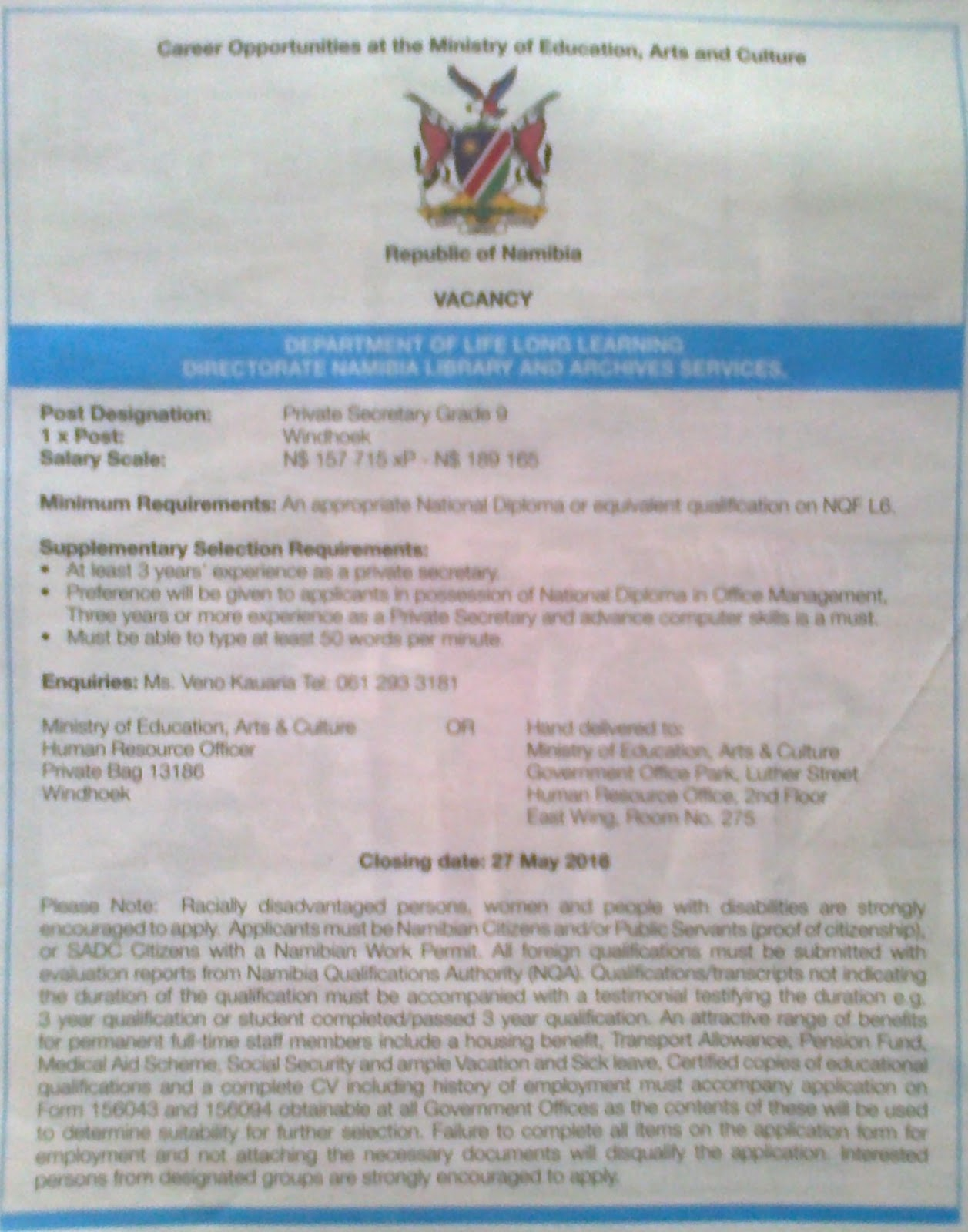 Namibian Government Application Form on