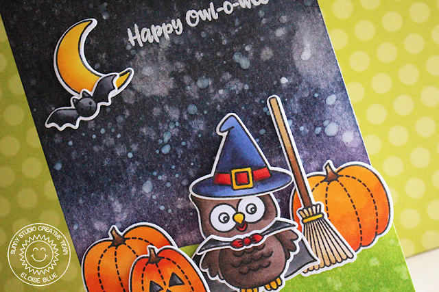 Sunny Studio Stamps: Happy Owl-O-Ween Nighttime Witch Owl Card by Eloise Blue