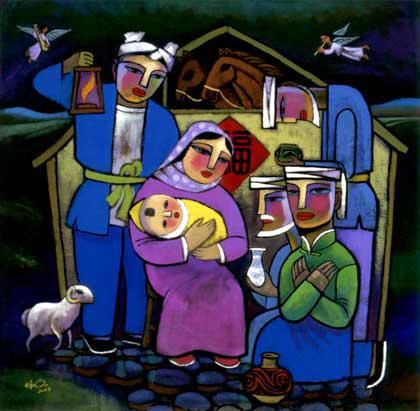 Resultado de imagen para pintura contemporanea navideña