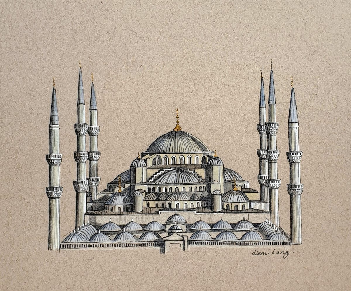 12-Blue-Mosque-Demi-Langdoes-Drawings-of-Architectural-Details-and-Buildings-www-designstack-co