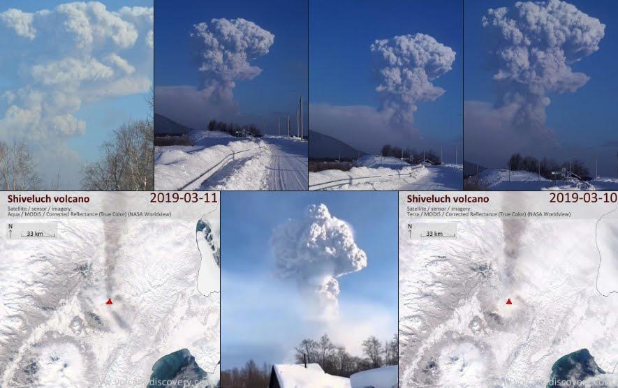 Vulcano Shiveluch Kamchatka lancia colonna di cenere a quasi 5 Km di altezza.