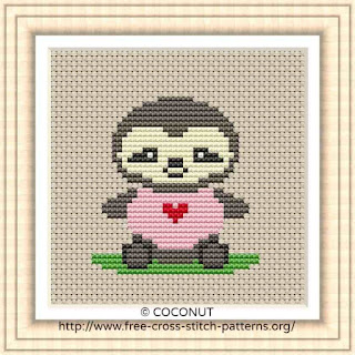 BABY SLOTH, FREE AND EASY PRINTABLE CROSS STITCH PATTERN