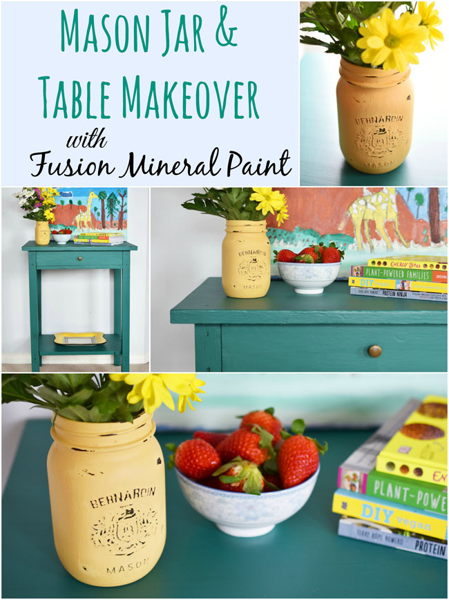 An Easy Wooden Table & Mason Jar Makeover - refresh an old piece of furniture and/or a mason jar with easy-on, matte finish mineral paint in a fun colour - #diy #decor #masonjar #craft