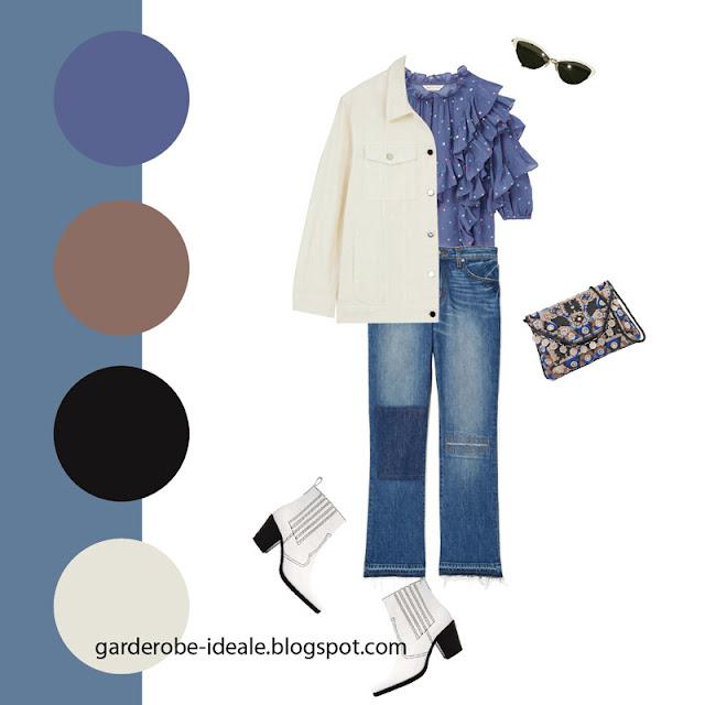Синяя блузка с рюшами с джинсами пэчворк и белой джинсовкой
