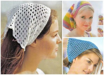 Pañoleta bandana para el pelo a crochet