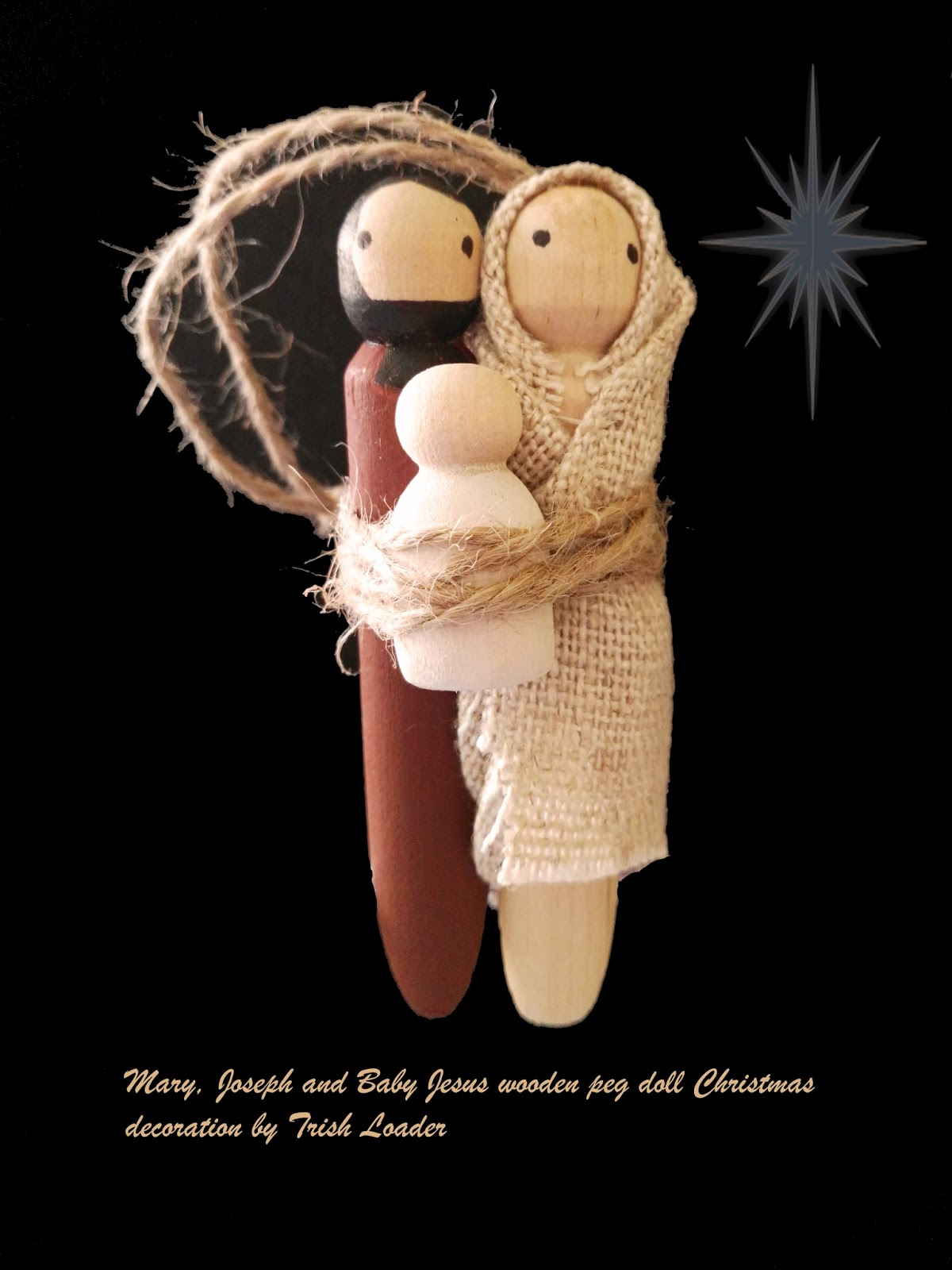 Christmas decoration wooden peg doll mary joseph and for Baby jesus christmas decoration