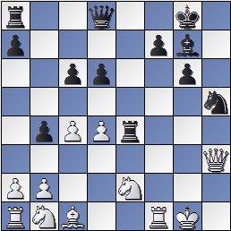Posición después de 20... Txe4 de la partida de ajedrez Farré vs. Gligoric, I Torneo Internacional de Ajedrez Costa del Sol 1961