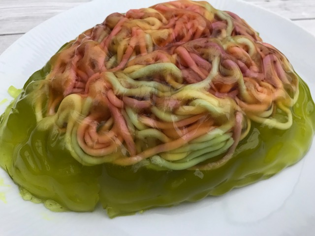 Jelly shaped like a brain contained cable sweets that look like brains