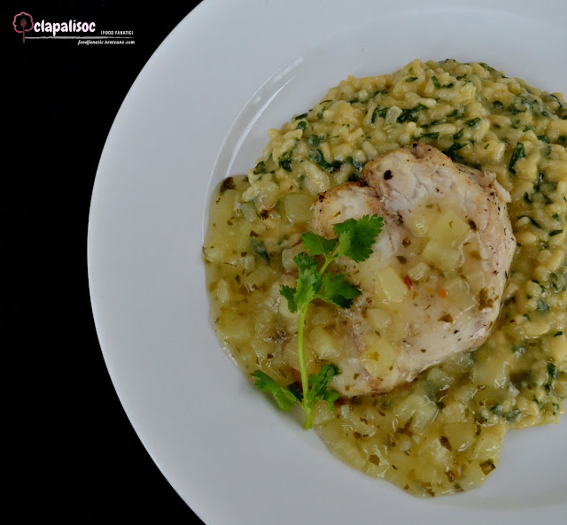 Charbroiled Red Snapper Fillet in Pineapple Coriander Buerre Blanc with Spinach Risotto