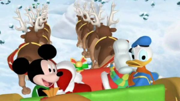 MICKEY MOUSE: Let's all ride Santa's sleigh, come on everybody