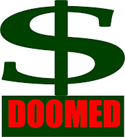 a graphic by Erika Grey US Dollar Doomed, which shows a large green symbol of the US dollar and below the dollar symbol in large red capital letters it reads Doomed