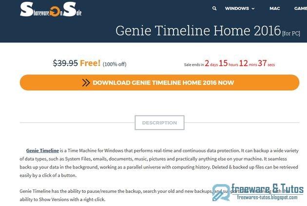 Offre promotionnelle : Genie Timeline Home 2016 gratuit !